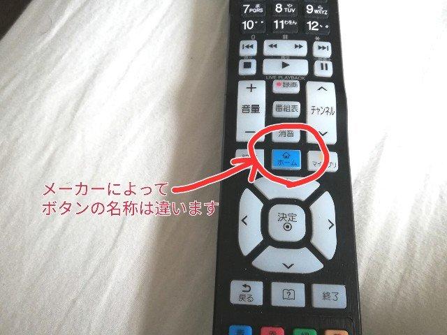 インターネット対応テレビのリモコンに「ホーム」と書かれたボタンがあります